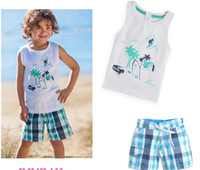 Boy beach boys clothing - Summer clothes kids sets boys relaxation suit beach clothes set piece sleeveless Short pants
