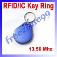 Wholesale 50pcs RFID MHz Mifare Token IC Tag Token Key Ring IC Cards Re writable Blue Color FZ0411