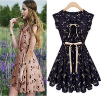 Round skater skirt - 2017 Fashion Women Dresses Bohemian Summer Sleeveless Party Chiffon skater Dress deer bowknot mini skirts Casual Dress For Women Clothes