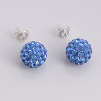 Gift baby disco - Fashion jewelry Silver Stud mm Baby blues Disco Ball Crystal Bead Shamballa Earrings pairs