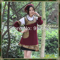 Wholesale Hotel amp coffee shop overalls Maid apron suits home cleaning dress set aprons suit kitchen dress