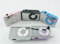 Wholesale Hot Selling Mirror Clip MP3 Player Support TF MicroSD Card With Earphone USB Cable Box