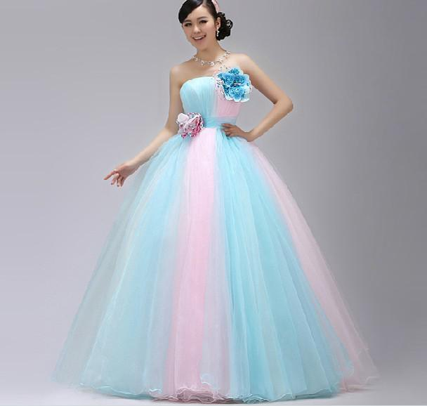 Discount Stunning A Line Strapless Light Sky Blue And Pink Bridal ...
