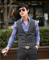 Wholesale High Quality UYUK The British Temperament Vests Men s Casual Vests Hit the Color Collar Vests