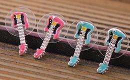 Wholesale New Korea Fashion Earrings Enamel Small Guitar Women Stud Earrings Fashion Jewelry SJ4