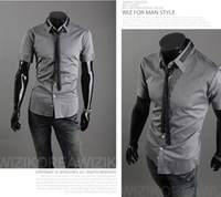 Wholesale HOT New Fashion Form a complete set of tie Men s short Sleeve Shirts Casual Slim Shirt