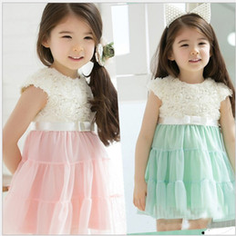 Wholesale 2013 New Korean girl s tutu dress rose lace dress princess dress children summer dress MAR169