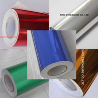 Wholesale CHROME SILVER Gold Golden Red GLOSS HIGH QUALITY VINYL wrap Air Release m x m air free