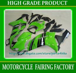 Green silver racing motorcycle fairing set for 2007 2008 Kawasaki Ninja ZX6R zx-6r ZX 6R 07 08 RX8m
