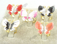 Wholesale 2013 New Spring Jewelry pc Fashion Crystal Epoxy Deco Butterfly Stretch Rings R41319