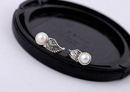 New Retro Tibetan Silver Pearl Small Wings Women Stud Earrings Men & Women Jewelry Earrings xmas gifts SJ6