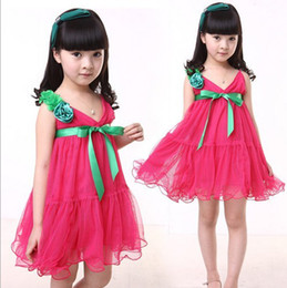 Girls Dresses Large Flowers Veil Dance Dress Lovely Cake Baby Clothings