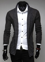 Wholesale 2013 spring men s Sweaters fashion stripes men s casual long sleeved knit cardigan Dark gray