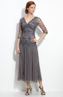 Wholesale 2013 Vintage Gray Mother of the Bride Dresses Tulle Beading V Neck Eblow Sleeve Tea Length