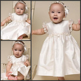 Wholesale Satin Christening Gowns Appliques Empire Short Lace Sleeves Long Baby Dress Ivory Christening Gowns