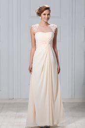 Wholesale 2013 New Arrival Summer Beach Champagne Chiffon Floor length Sheath Wedding Dresses Gowns WD304