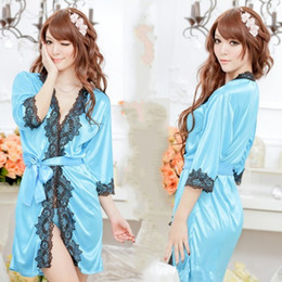 Wholesale Sexy Lingerie New Silk Robe Lace Rim Dress G String Set Sexy Sleepwear Sexy Dress Sexy UniformW1340