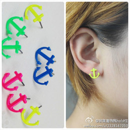 Wholesale Mixed Womean Fashion Jewelry Accessories Neon Anchor Stud Earring Mixed Colour Ear Pins Summer Kit