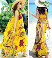 achat en gros de robes dames jaunes-Hot Sale Mode féminine dames Robe en mousseline de soie Bohême Boho Floral Plage Full Circle Long Summer Casual Livraison sans manches Jaune Orange gratuit