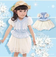 Wholesale Fashion grace Baby clothes blue cowboy layer Net yarn Hubble bubble sleeve lace girls dress Year kids princess dresses