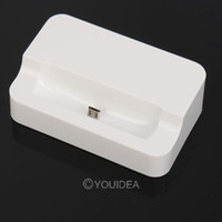 Wholesale 4pcs white Retail mobile phone charger Sync Stand Cradle Desk Dock