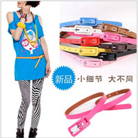 Wholesale 2013 Fashion Cute Woman s Candy Color Square buckle PU Leather Thin Skinny Waistband Belt hot sale