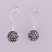 Wholesale Hot Sale Shamballa Earrings Silver mm Disco Ball Crystal Beads Hanging Earrings pairs