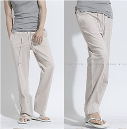 Wholesale NEW Summer cool and refre colors long pants linen Straight loose casual pants