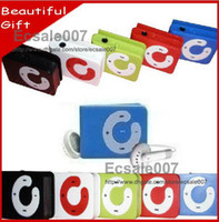 Wholesale NEW Mini Clip Music Mp3 Player C Shape With Card Slot Earphone USB Cable Crystal Box