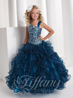 Wholesale Princess Ball Gown Tiffany Long Length girls Pageant dresses with beading