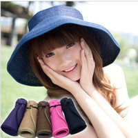 Wholesale Fashion Large Summer Hats Wide Brim Beach Sun Straw Hats Derby Hat Cap Packable Flexible DG