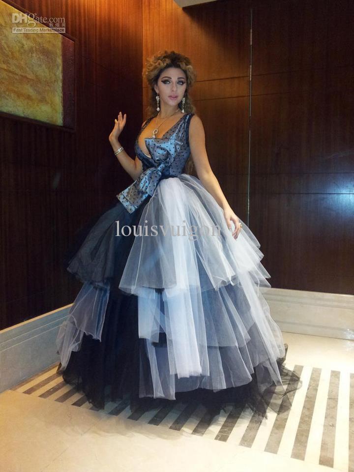 Christmas wedding dresses 2013 - Celebrity Dress Myriam Fares Floor Length V Neck Off The Shoulder Ball