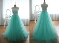 Wholesale Vintage Lace and Tulle Prom Dresses Real Picture Modest High Neck A Line Sweep Train Sheer Back Formal Dress Prom Gowns