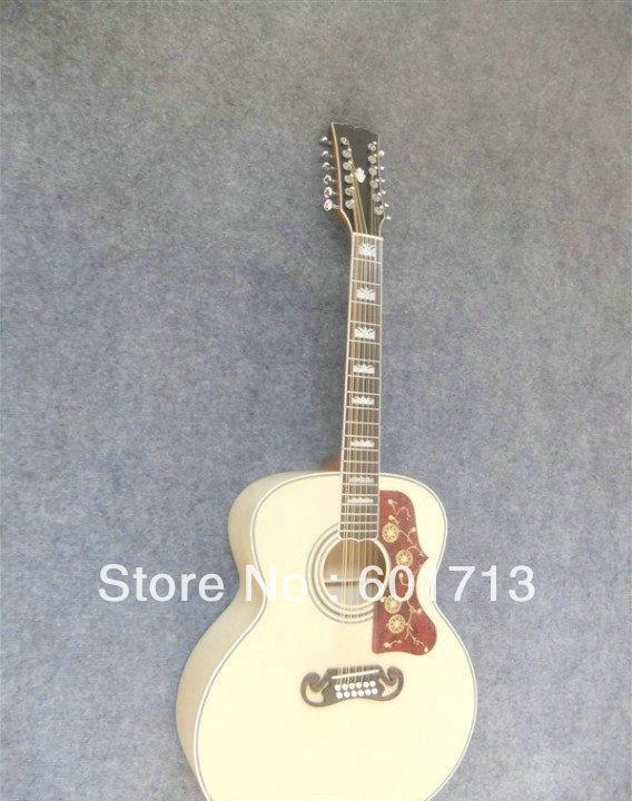 12 Strings SJ200 Natural spruce acoustic guitar dreadnought Best
