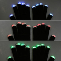Wholesale 2015 NEW gift dhl Modes color changing flashing Led glove for KTV Party black white for choice Finger Flashing Glow