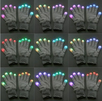 Wholesale Hot Selling pair of Mode LED Gloves Rave Light Finger Lighting Glow Flashing Gloves