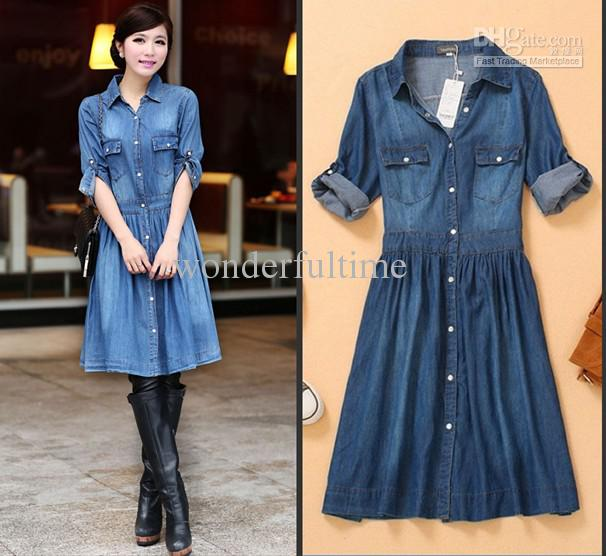 New Fashion Vintage Retro Womens OL Blue Button Down Denim Dress ...