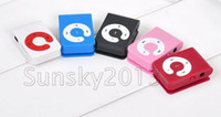 Wholesale Newest Clip Music Mp3 Player C Shape With Card Slot Earphone USB Cable Crystal Box