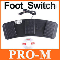 Wholesale USB Foot Control KeyboardMouse Action Three Switch Pedal HID Free Shippping
