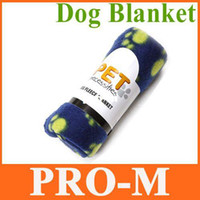Wholesale 3 Cute Pet Dog Cat Blanket Paw Prints Soft Fleece Mat Bed Cover Blue free dropshipping
