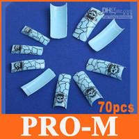 Cheap 4sets lot, 70pcs Blue Vein & Skull Fake False Nail Tips UV Acrylic Nail Design Art, Free Shipping