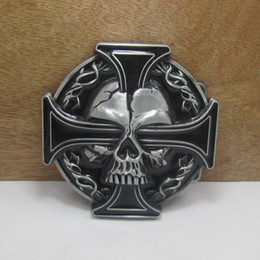 BuckleHome Cross belt buckle skull belt buckle with pewter finish FP-03164 with continous stock free shipping