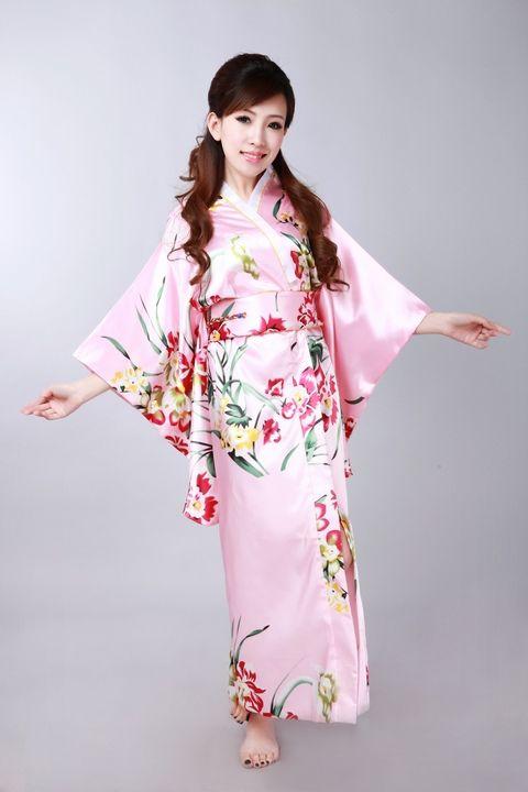 Traditional Japanese ethnic dress sexy kimono robe pink flower