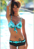 Wholesale 2pc Sexy hot lady printing bikini swimwear Blue Green Red color options M L XL