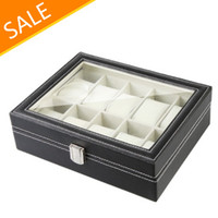 Wholesale Watch Display Case Jewelry Collection Storage Organizer Leather Box Grid