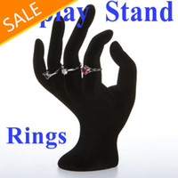Wholesale OK Hand Ring Jewelry Showcase Display Stand Window Show Holder Black Velvet Freeshipping