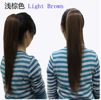 Wholesale 2015 Hot Factory Fashion beauty wowen Ponytail Horsetail Clip pony tail Straight horsetail hair with clasp cm A0022