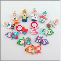 Wholesale MIC x29mm Mixed Polymer Fimo Clay Girl Boy Charms Pendants