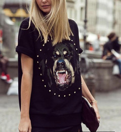 Wholesale new shiny diamond rottweiler dog s head short sleeve T shirt