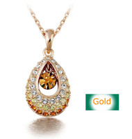 fashion arrival diamond pendant - New arrival gold Austrian crystal necklace high quality Simulated diamond Jewellry necklace chain